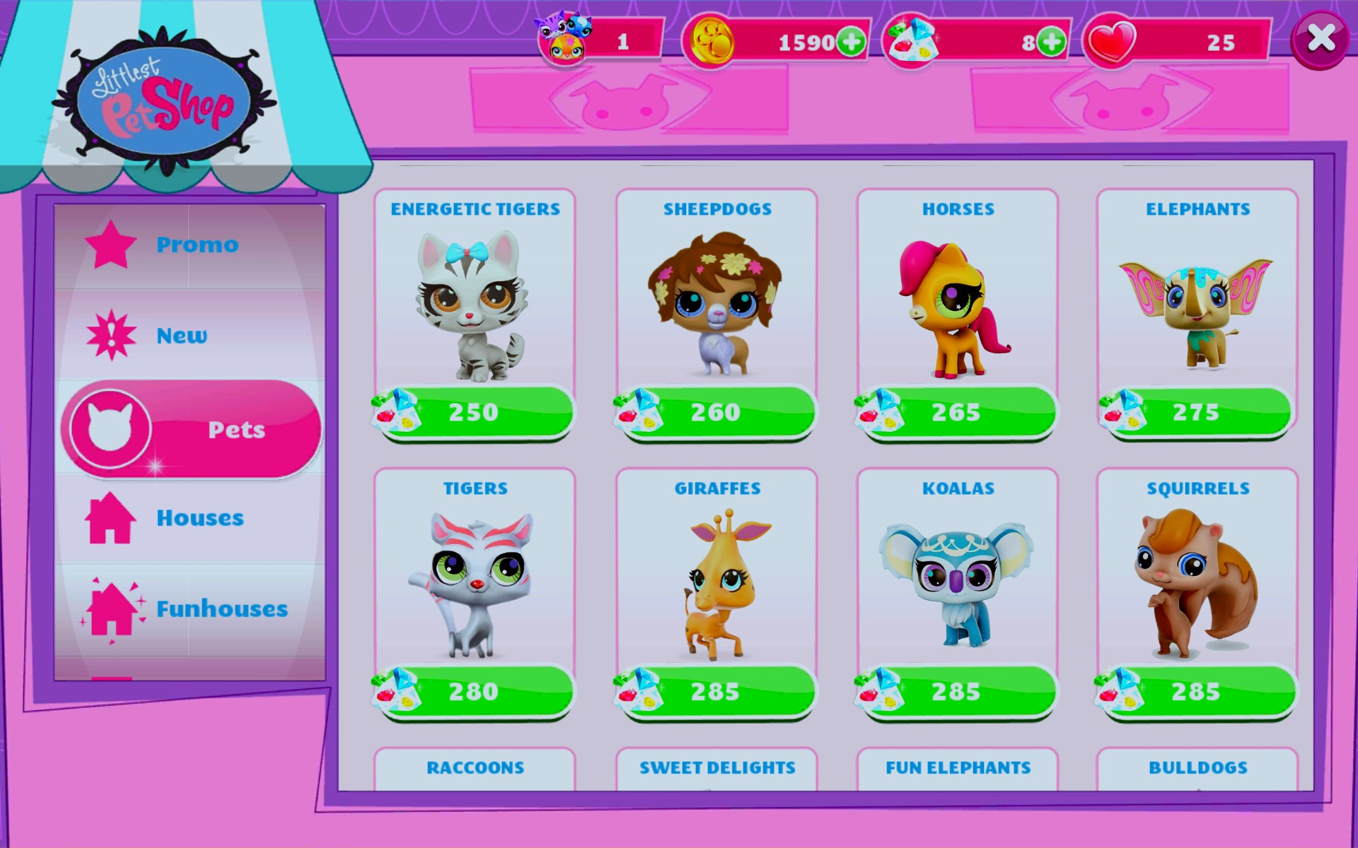 Littlest Pet Shop is a mobile app created by Gameloft. It is avalable on iPhone, IOS and Android. The subject of the game is to make a town of pets (and only pets) and take care of them all by tending to their needs and expanding the town.